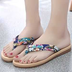 Shoes - 3 FOR $15 Floral Print Flip Flops